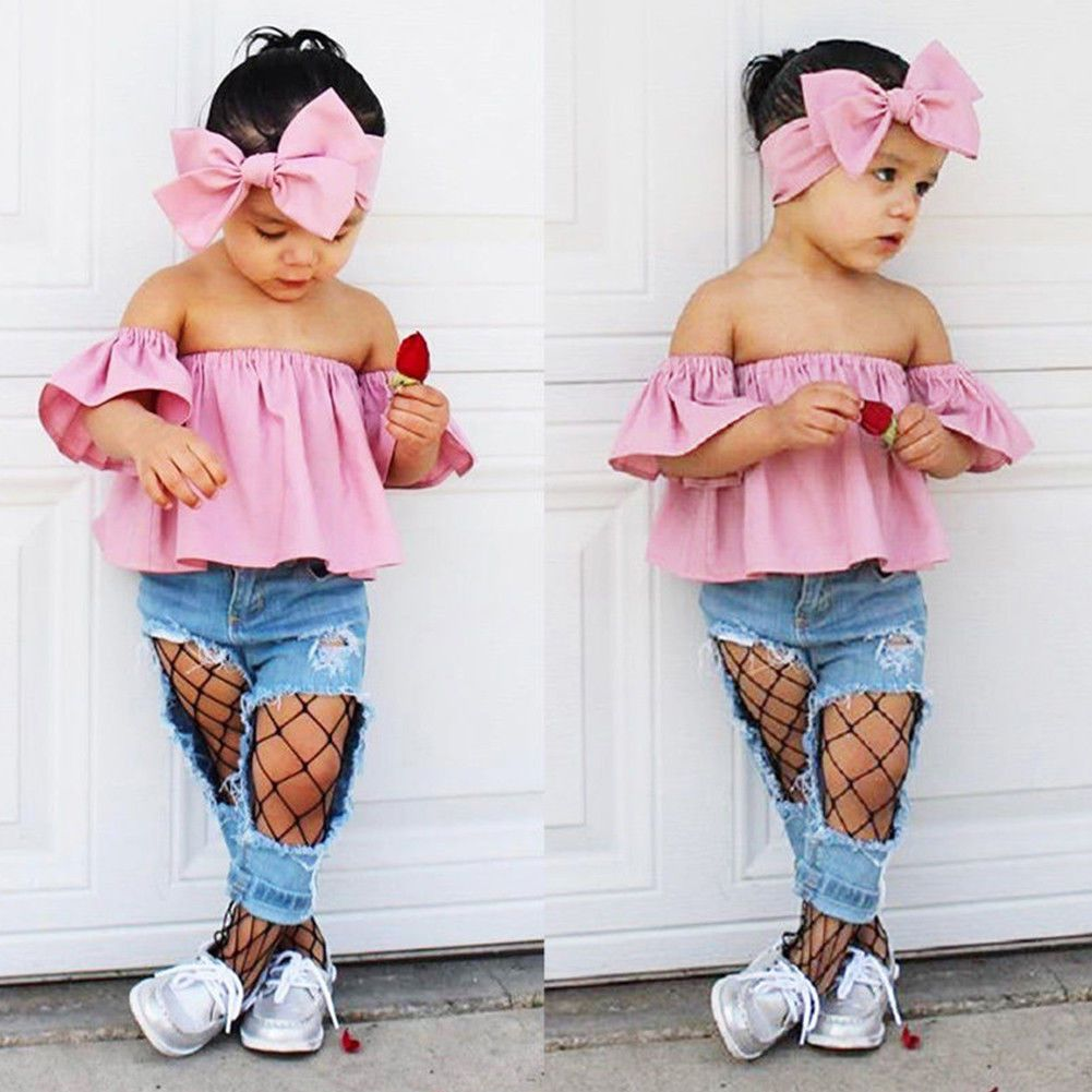 5fef57c05 3Pcs Toddler Baby Kids Girl Off Shoulder Tops +Denim Pants Outfits ...