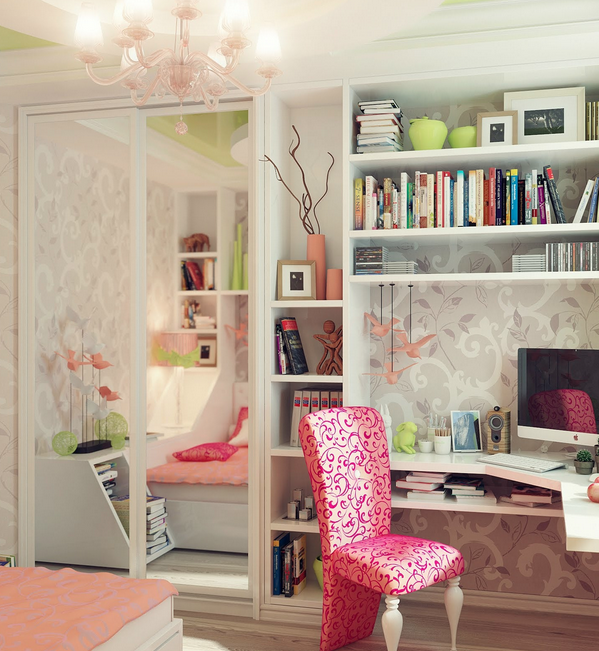 Bespoke white corner desk pink chair contemporary and terrific young teenagers rooms
