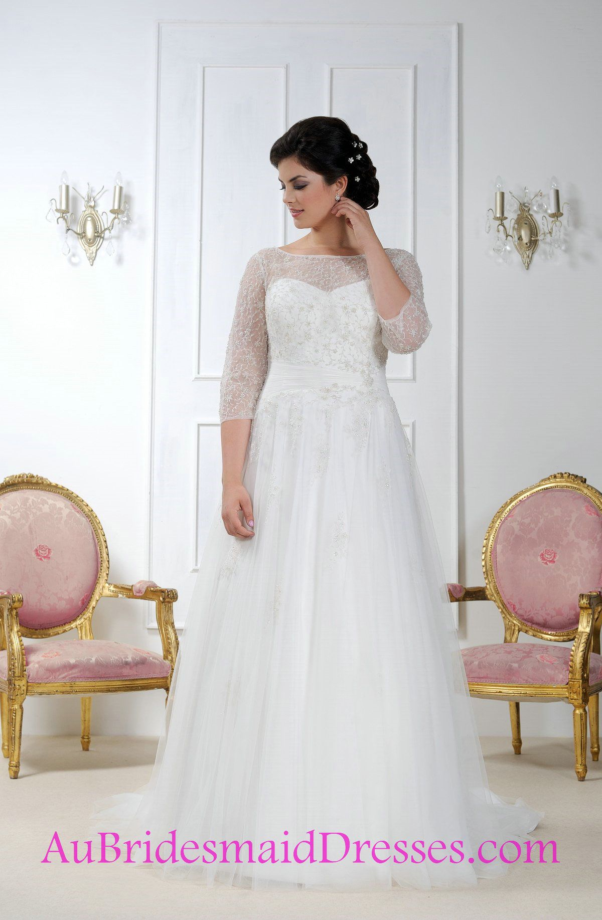 Image result for plus size wedding dresses with sleeves rachel and