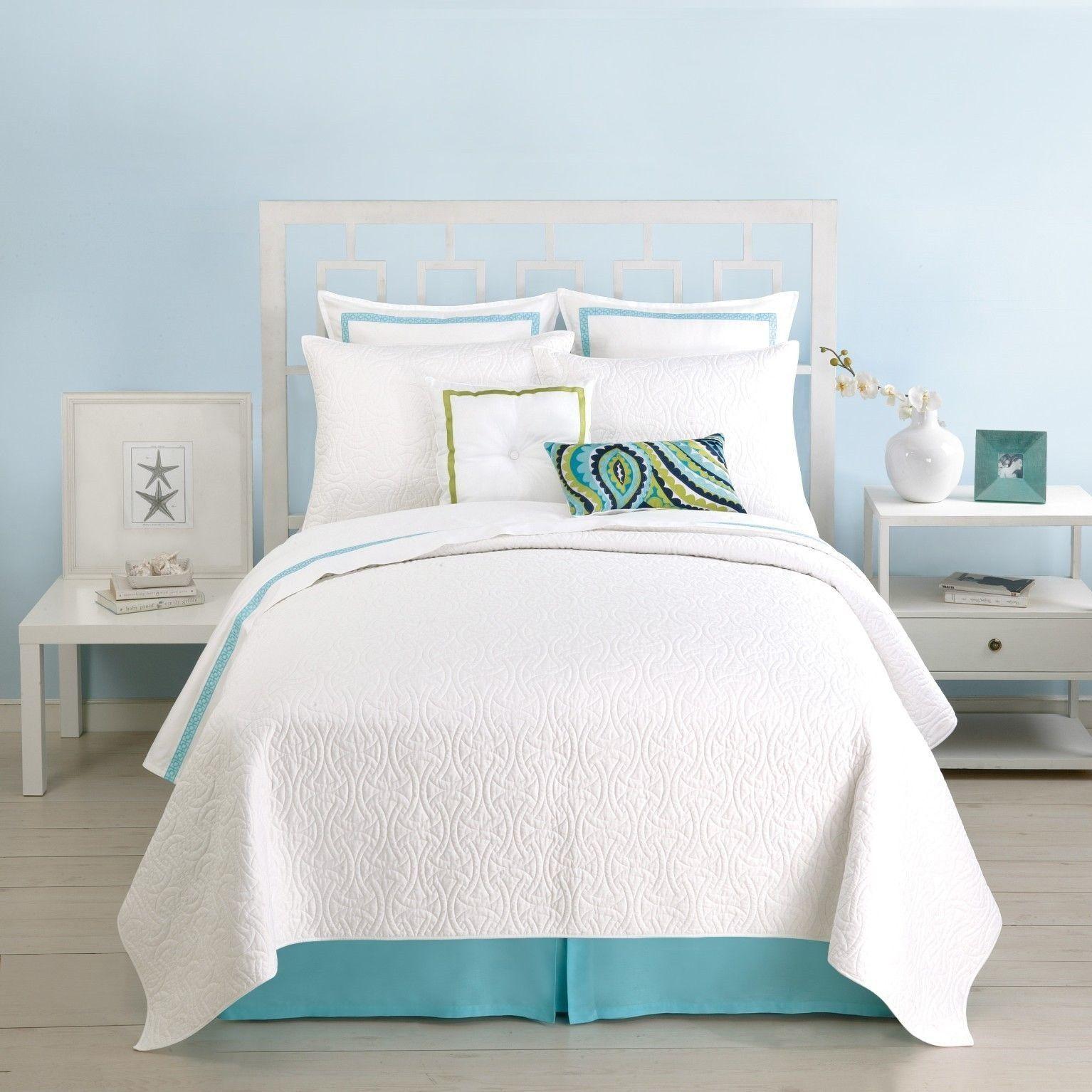 Trina Turk Santorini White Quilted Standard Pillow Sham ...
