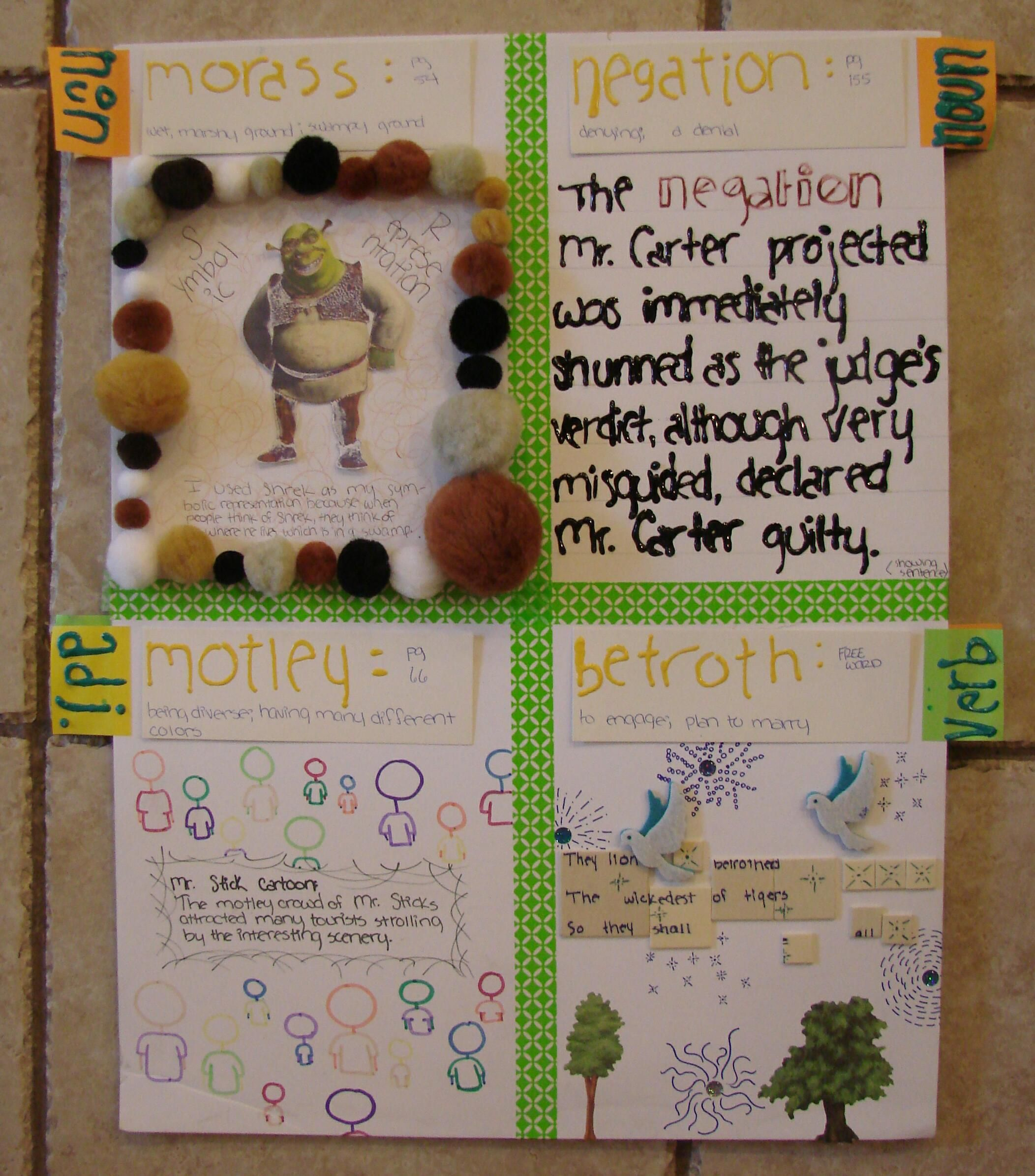 """Serene's vocabulary often came to me in poster-board size with many 3-D items glued carefully in place. I always love the """"bigger is better"""" ideal.  Learn about our weekly vocabulary collecting routine here: http://www.corbettharrison.com/Vocabulary.htm"""