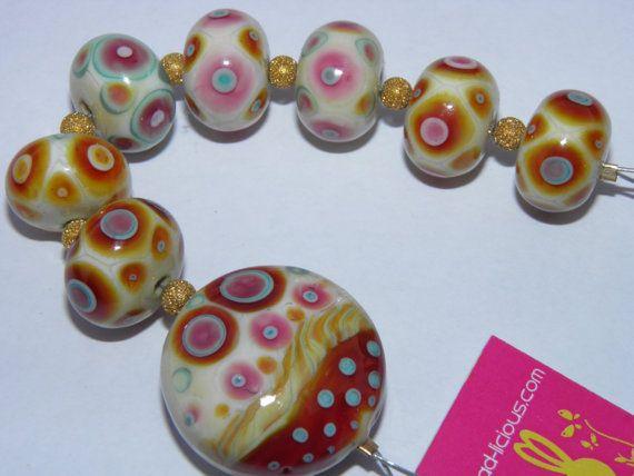HUGE SALE  Set of 8 BATIK Lampwork Beads Made By by beadlicious, $25.00