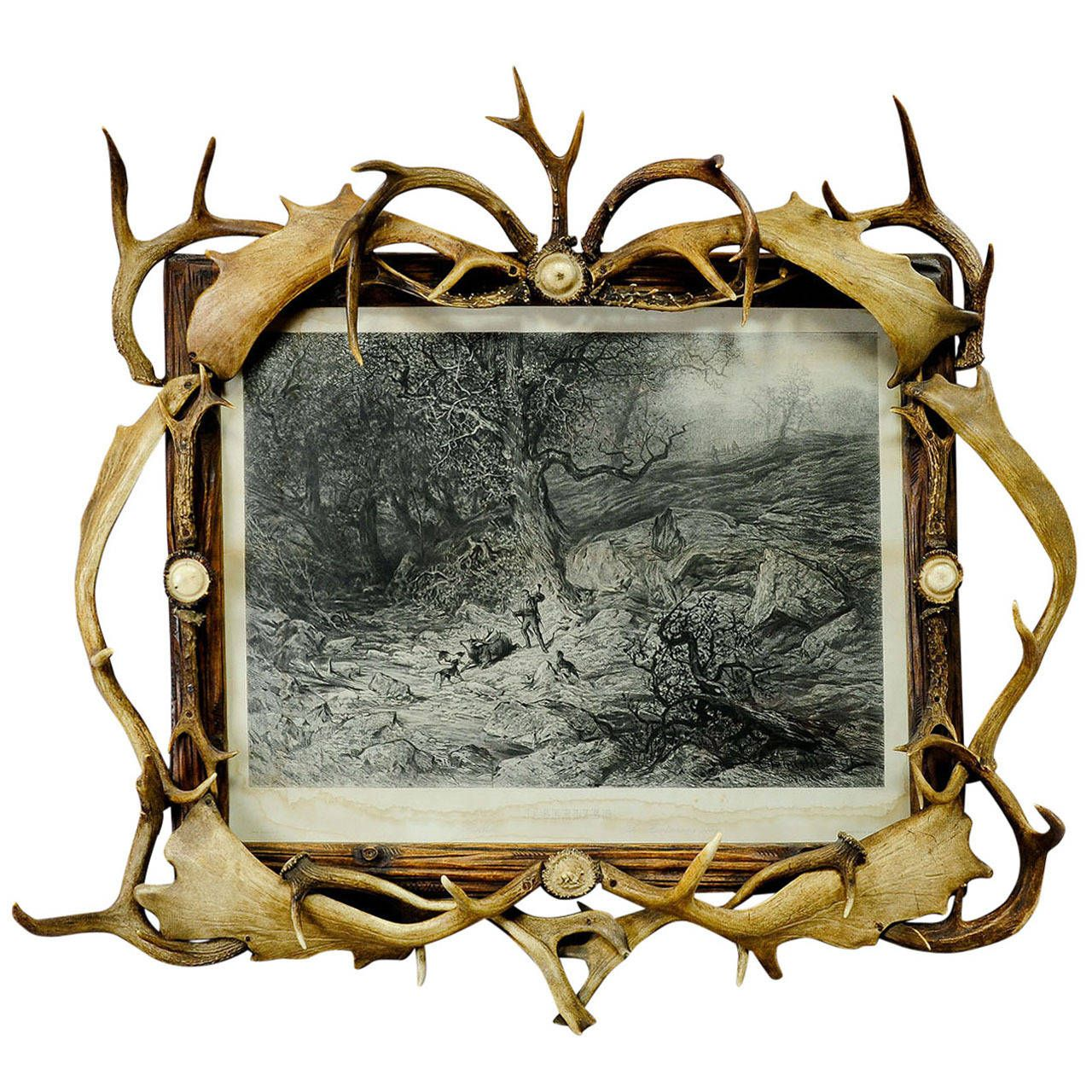Large Black Forest Antler Picture Frame with Print | Rustic ...