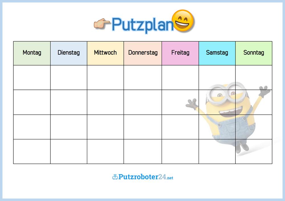 Putzplan Vorlage Fur Familie Mit Minions Putzplan Planer Haushaltsplaner