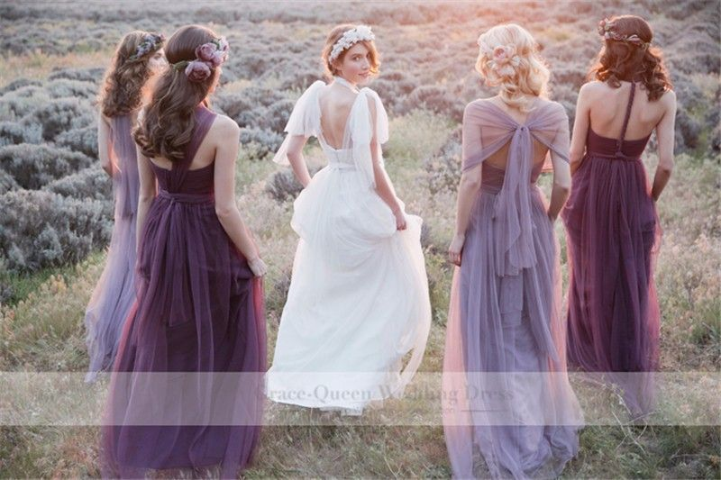 Vestidos-De-Novia-en-colores-Pastel-Mismatched-lavanda-púrpura-dama ...