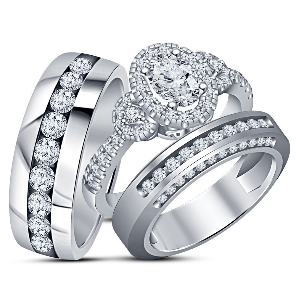 His Her Wedding Band Engagement Ring Trio Set White Gold Plated