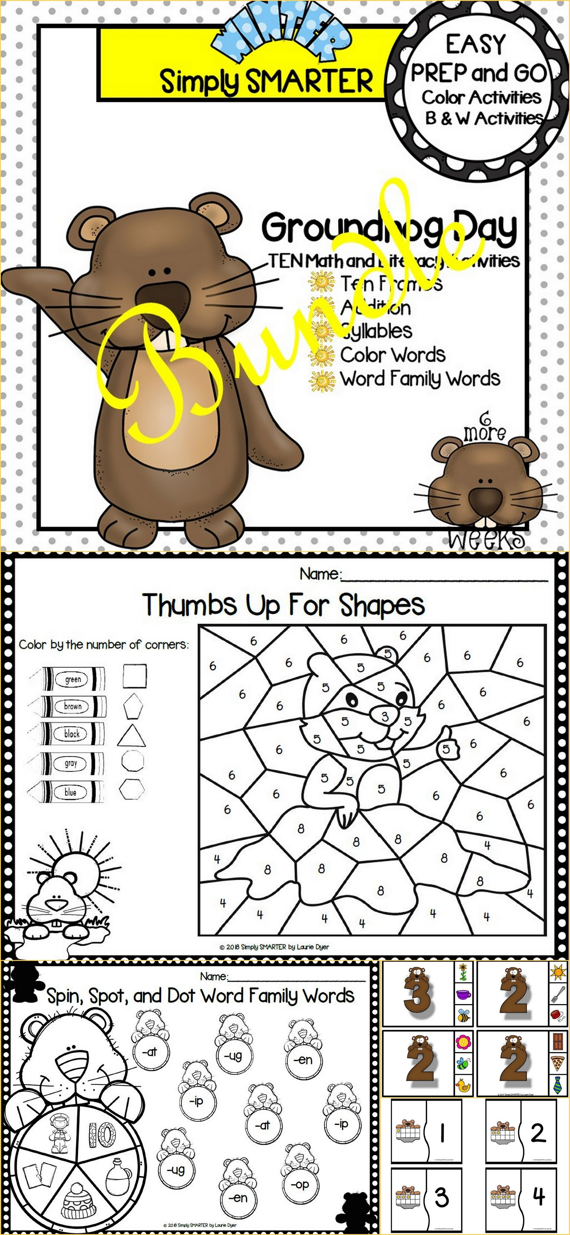 EASY PREP Groundhog Day Math and Literacy Center Activities Bundle ...