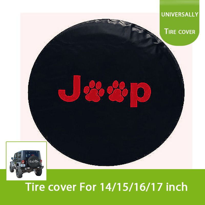 Red Print Spare Tire Wheel Soft Cover Paw Case Protector R15 R16