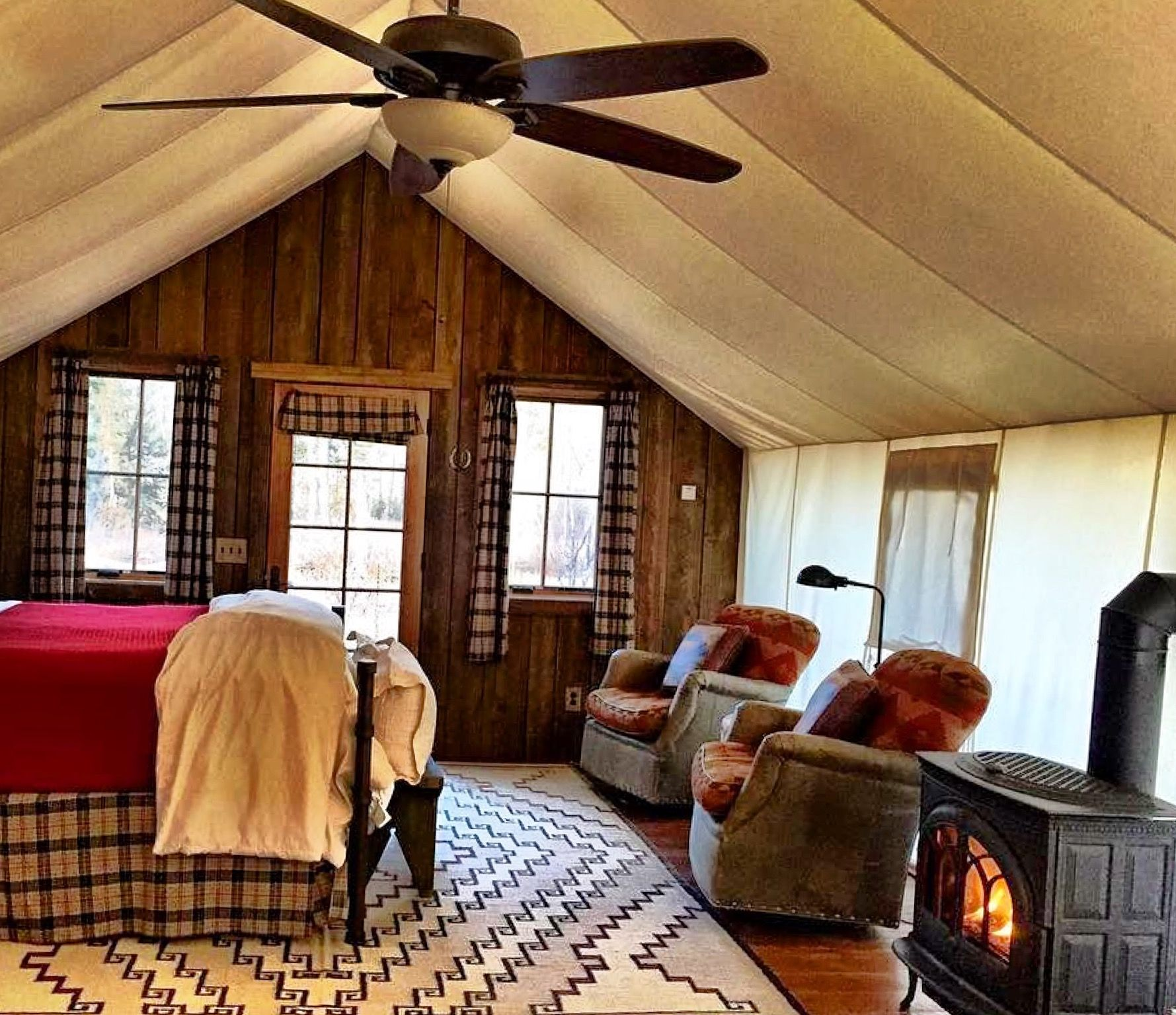 Thanksgiving glamping in Sweet Grass Canvas Cabin. We're thankful for a cozy bed and the relaxing sounds of Rock Creek singing us to sleep.  Photo by Jessica Cook.