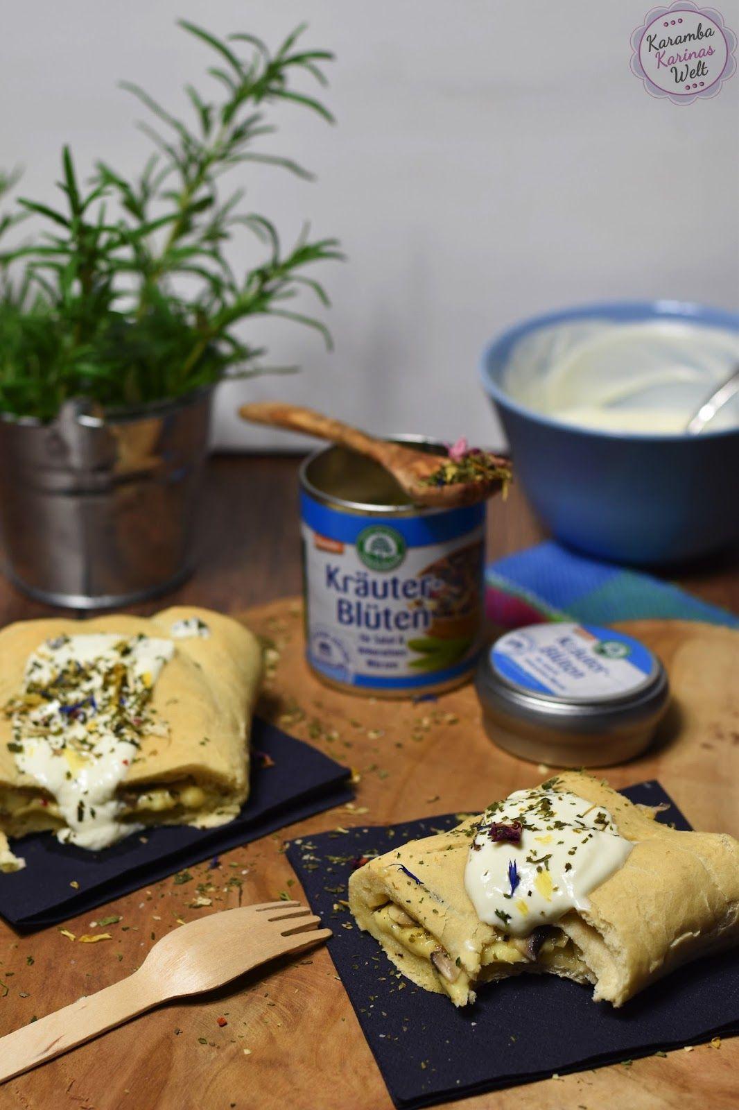 Rezept für Handbrot, Handbrot selber machen, Handbrot Käse Champignons, Handbrot Kräuter-Blüten