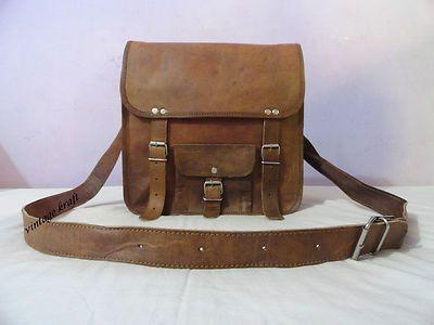 "New 12x12x3"" Vintage Handmade Goat Leather Bag Laptop MacBook Messenger Bag | eBay"