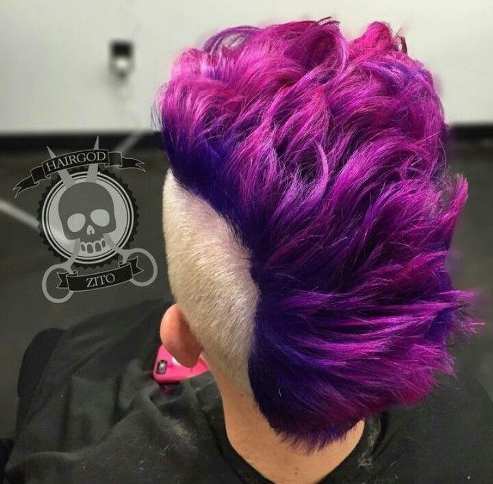 Mohawk Purple Fade Into Pink Hair Styles Cool Hairstyles Crazy Hair