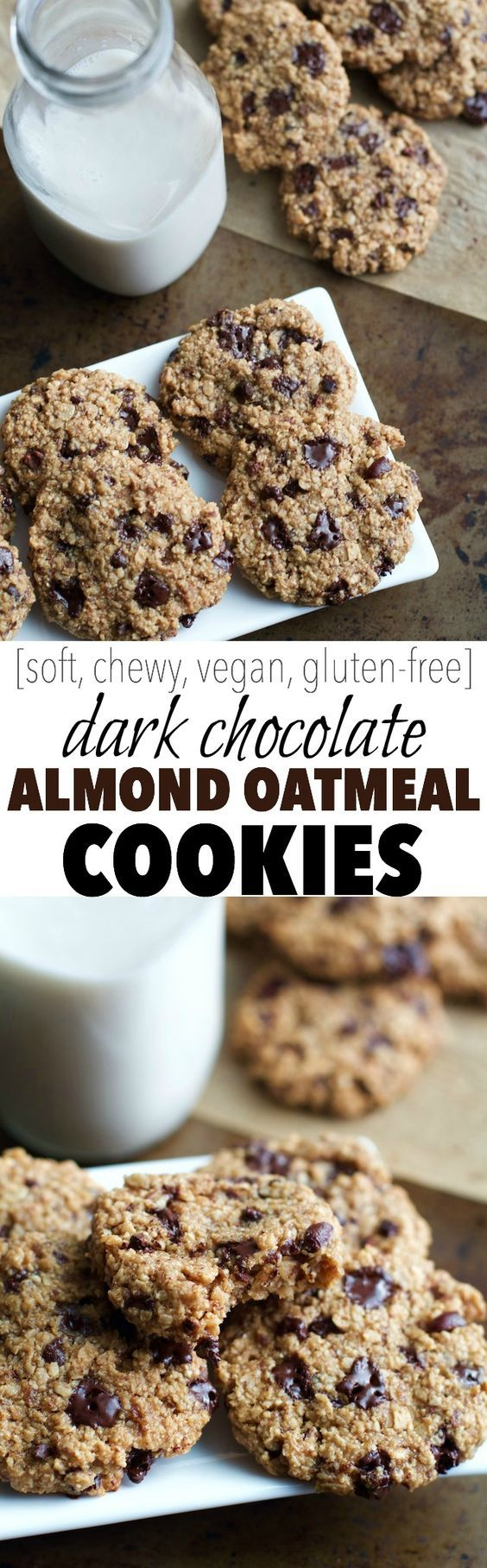 Dark Chocolate Almond Oatmeal Cookies -- bsp. ground flax seeds + 3 Tbsp. water** ¾ cup old fashioned oats ¾ cup blanched almond flour ½ tsp. baking powder ¼ tsp. salt ¼ cup coconut palm sugar*** 2 Tbsp. coconut oil, melted ½ tsp. vanilla extract ¼ cup dark chocolate chunks/chips/nibs