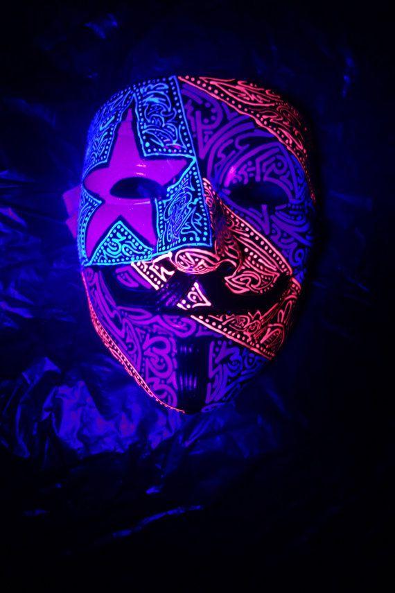 Nation Flag UV Reactive Guy Fawkes Rave Mask   EDM Costumes