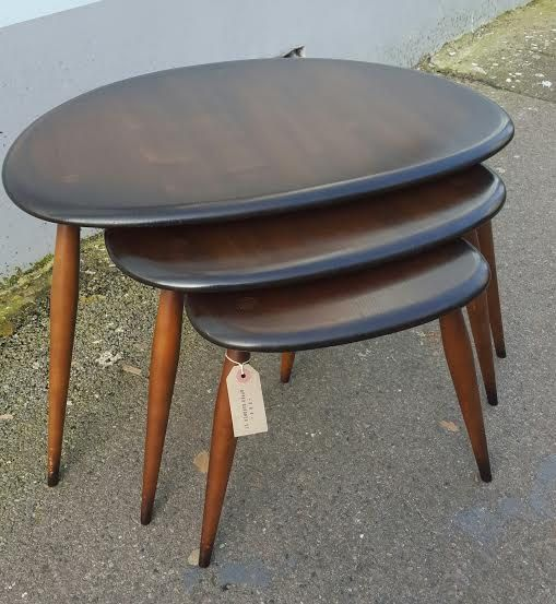 1960 S Ercol Pebble Nest Of Tables In Elm Beech By Erabrighton
