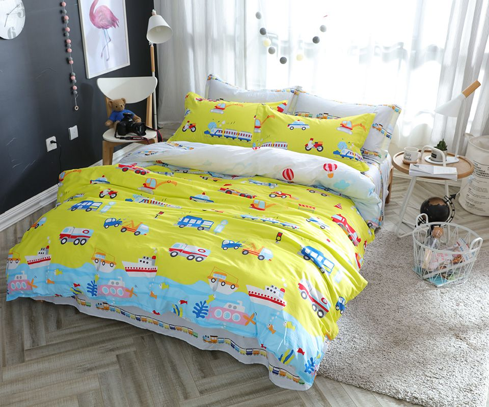 Captivating Yellow Bedding Set Queen Twin Double Size,100% Cotton Bed Sheet/car Print