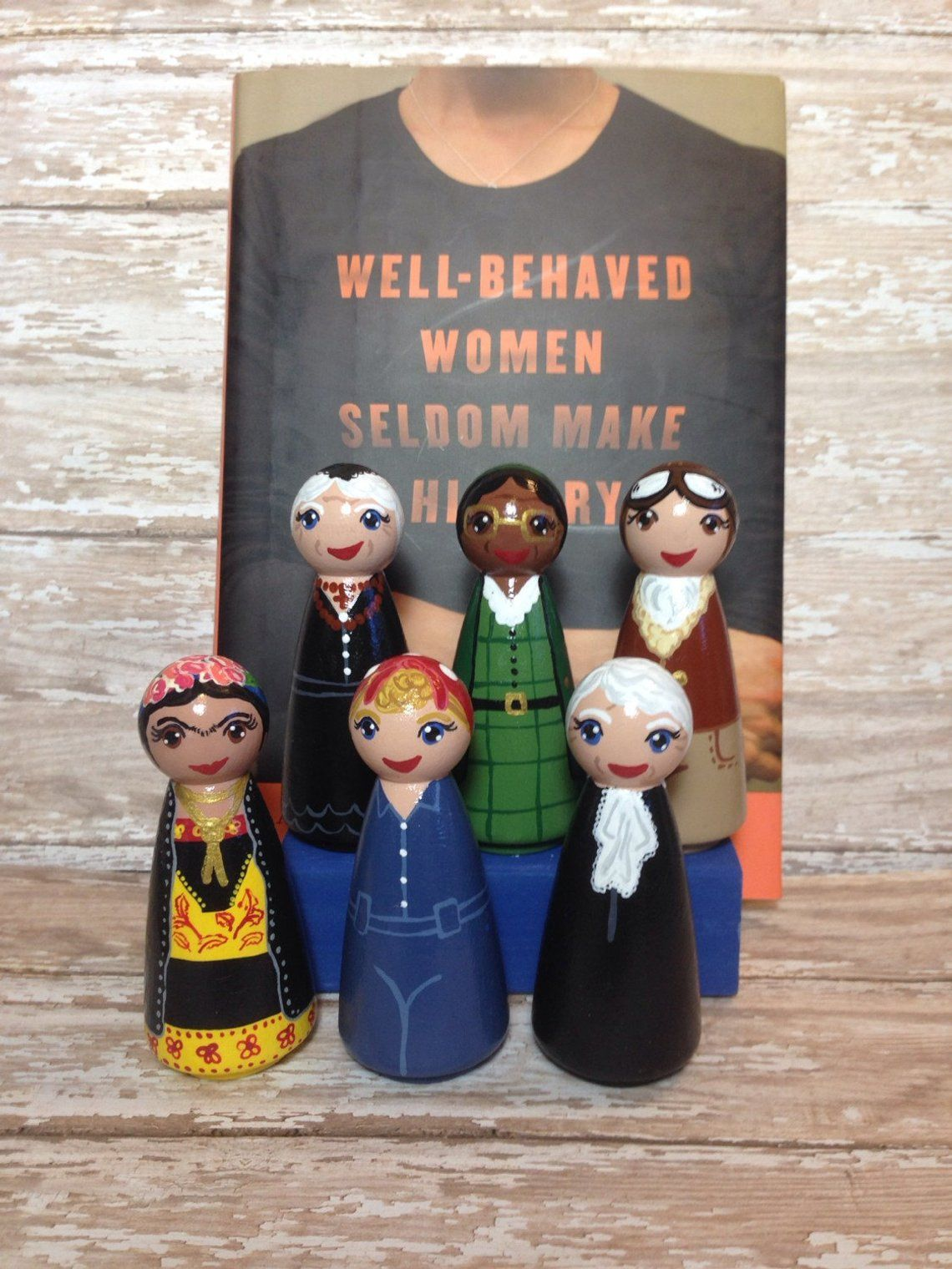 Photo of Frida Kahlo-Peg People-Artist-Mexican History-Teacher Gift-History Decor-Strong Women-Peg Doll- LGBTQ icon-Feminist-Painter-Homeschooling