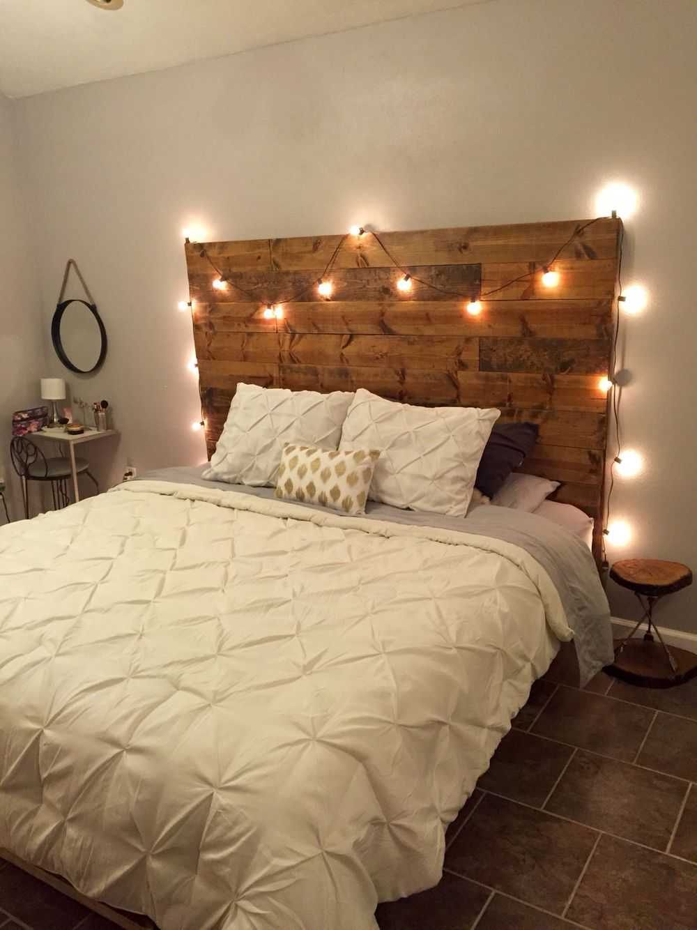 DIY master bed frame and headboard with