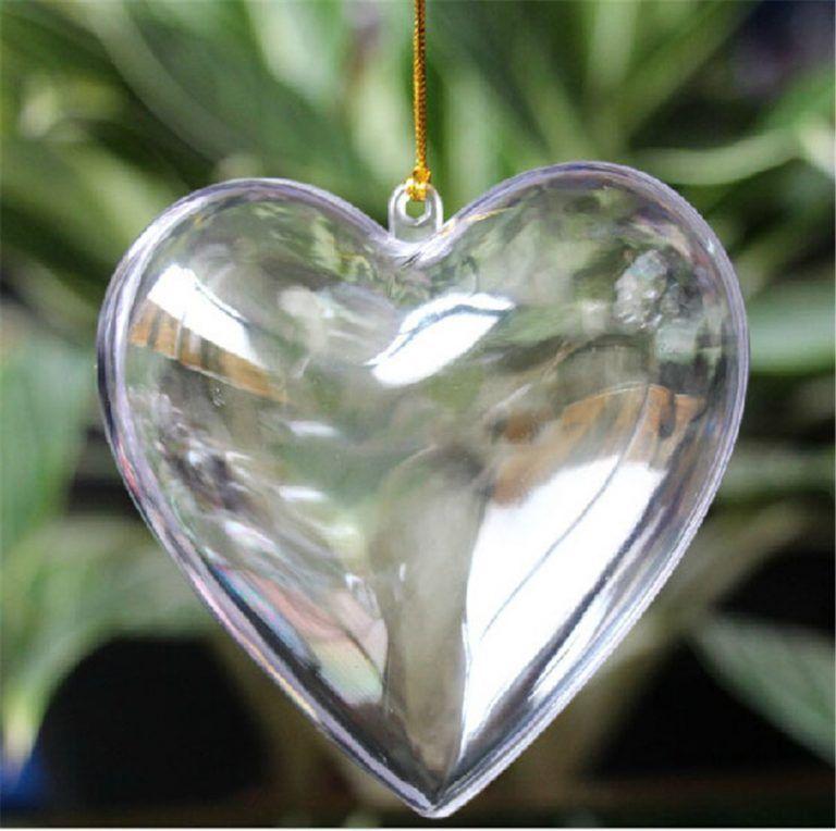20 pièces Plastique Transparent Cœurs Arbre De Noël Marriage Boules Décoration