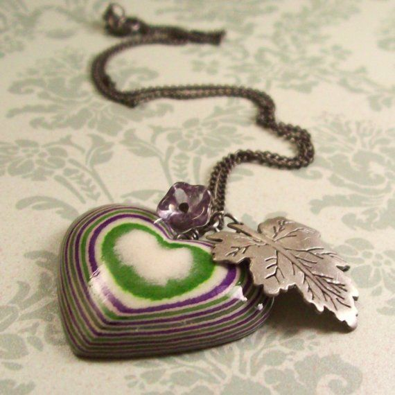 Blackberry Thicket Necklace with Layered Paper Heart Pendant