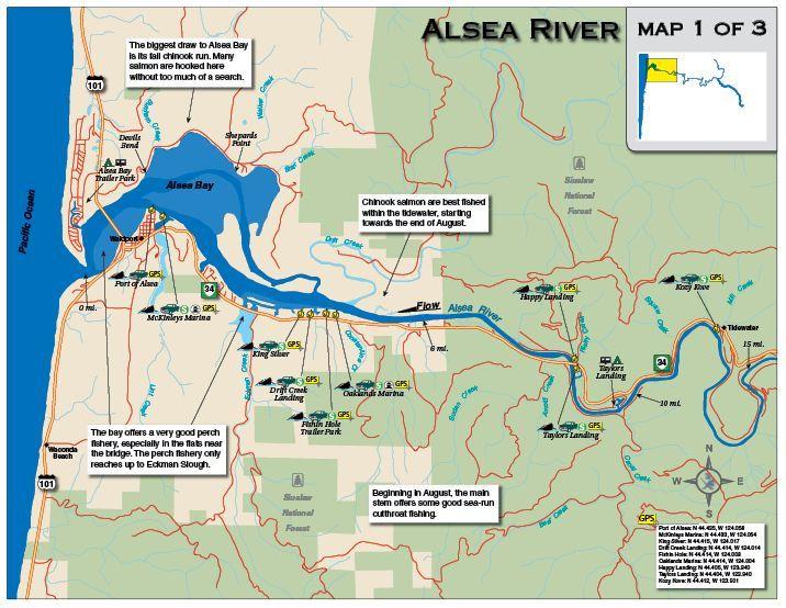 Alsea Oregon Map.Alsea River 1 Ai Fishing Maps Fishing Maps Best Fishing Map