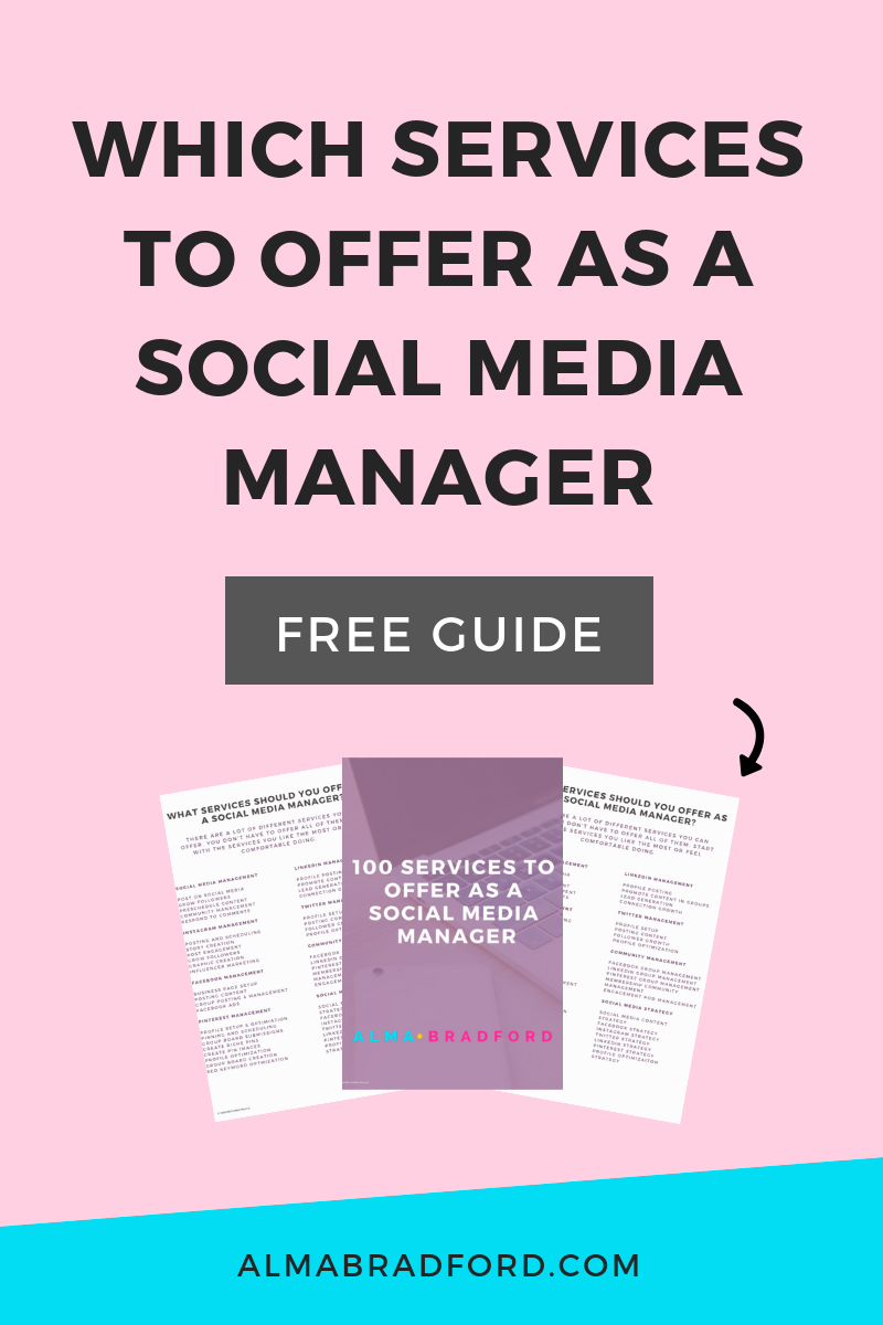 Want to become a Social Media Manager or start a Marketing Agency? This article explains the different services you can offer in your social media management business. #SocialMediaManager #OnlineBusiness #SocialMedia