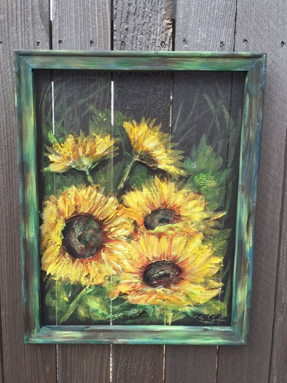 Rustic Sunflower on screen, hand painting original , indoor and ...