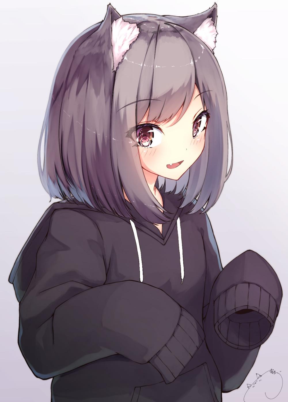 hoodie cute anime girl