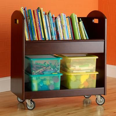 Kids Book Storage: Espresso Rolling Book Storage Shelf and Bin in ...