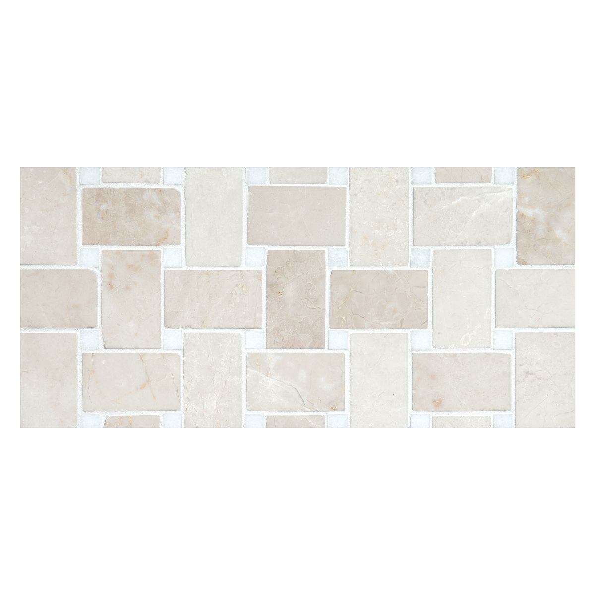 Complete Tile Collection Basketweave Mosaic Mi Color Bourges Beige With Thos Dots Polished