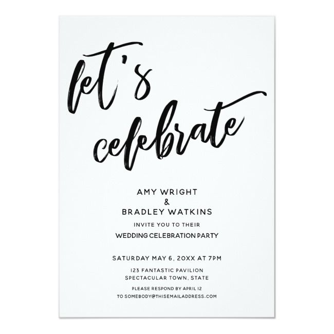 Handwriting Let S Celebrate Wedding Reception Invitation Zazzle Com Reception Invitations Wedding Reception Invitations Casual Wedding Reception