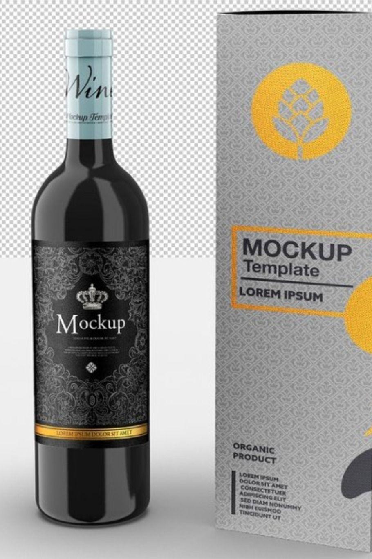 Download Wine Bottle And Box Mockup Box Mockup Wine Bottle Mockup Design