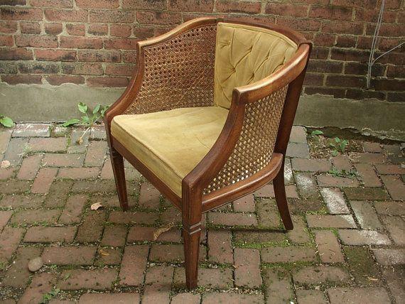 Vintatge 1960 Kennedy Wooden Chair Vintage Velvet Cane