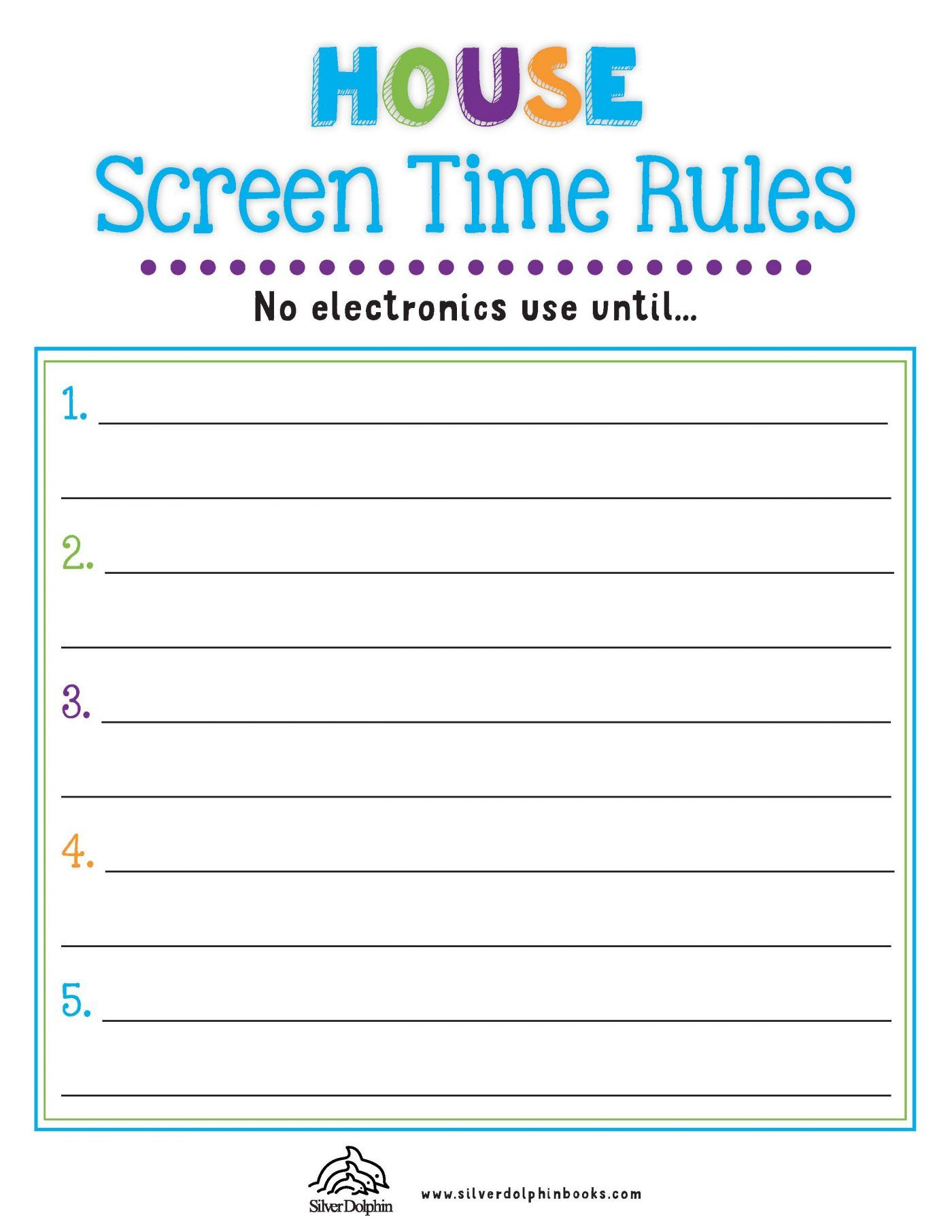 Summer Screen Time Rules Checklists In