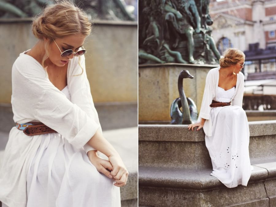 Look para una fiesta ibicenca moda mujer fiesta blanco vestido gafasdesol vintage - Fiesta ibicenca ...