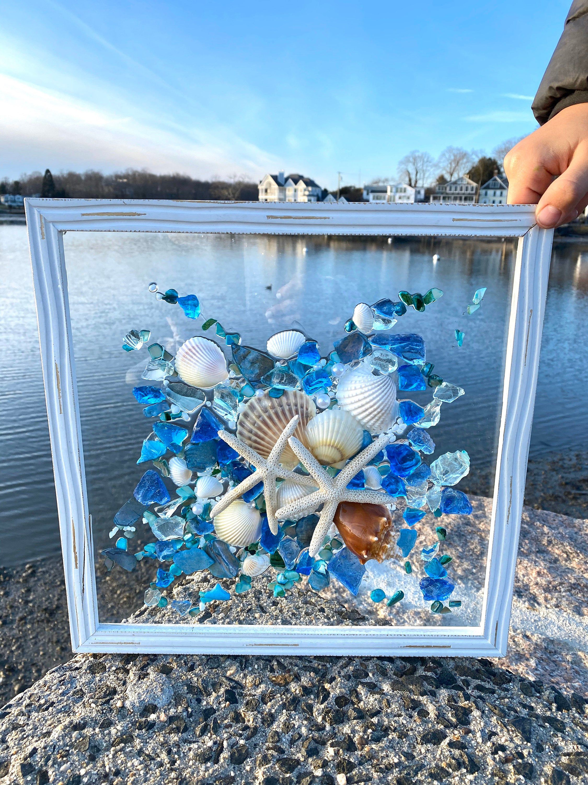 12x12 Beach Glass And Shells In A Frame In 2020 With Images