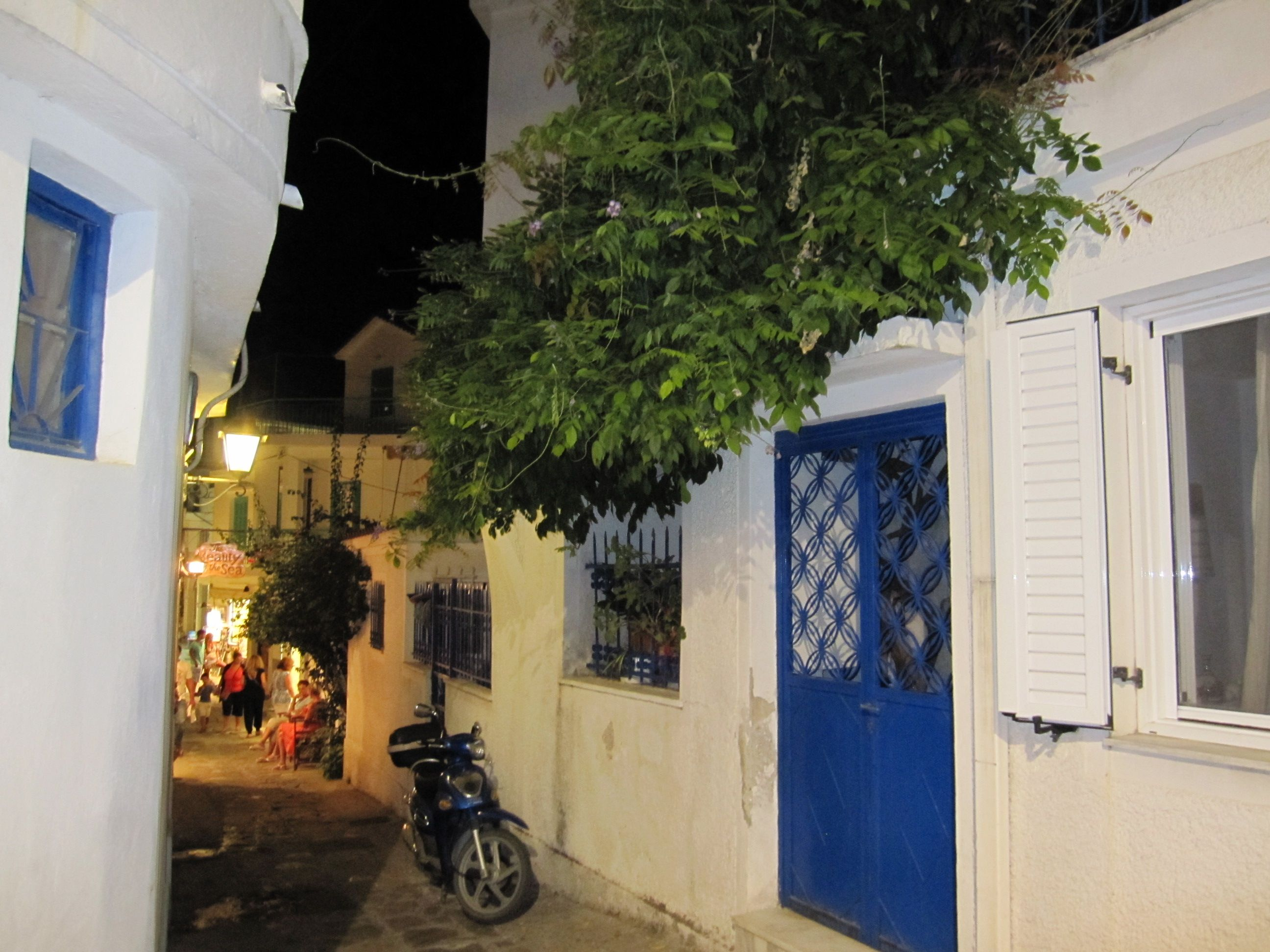 Narrow Streets in Skiathos, Greece.