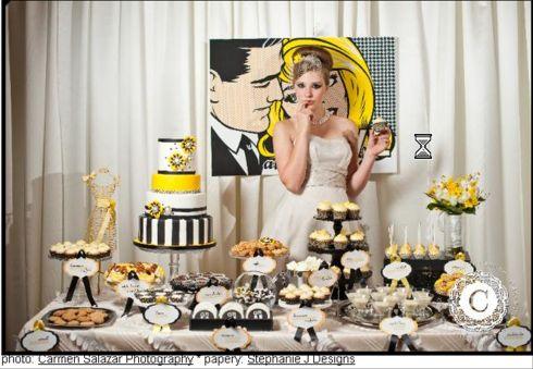 Toronto Wedding Cakes Hip Yellow Black White Modern Candy Dessert Bar Display Fake Cake Rental