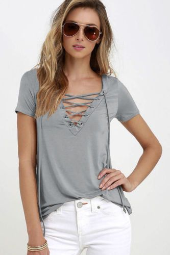 c6335b9f71b Summer Fashion Women T-shirts Short Sleeve Sexy Deep V Neck Bandage Shirts  Women Lace Up Tops Tees T Shirt plus size LJ3422M