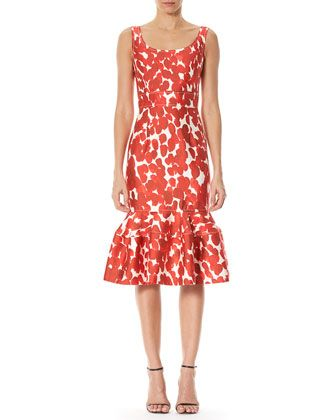 34568478fa2dd Printed Sleeveless Flounce Dress Poppy Red | Clothes | Red ...