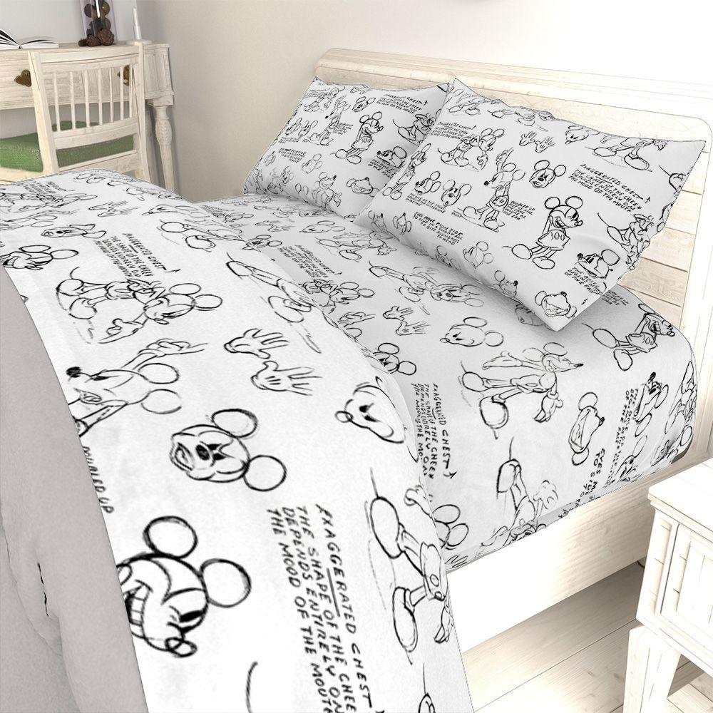 Disney Mickey Mouse Black White Sketch Bed Sheet Set Walmart Com In 2020 Disney Room Decor Disney Decor Bedroom Disney Themed Bedrooms