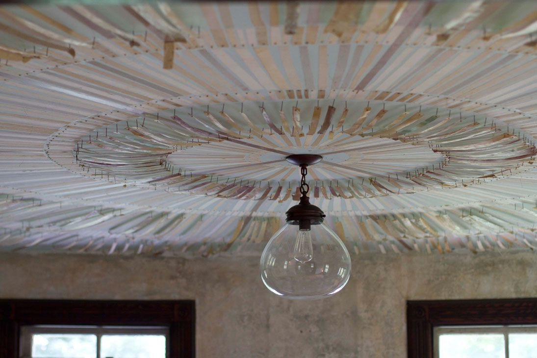 Ceiling idea with nails and paper yoga yoga retreat upstate ny heartland communal farm