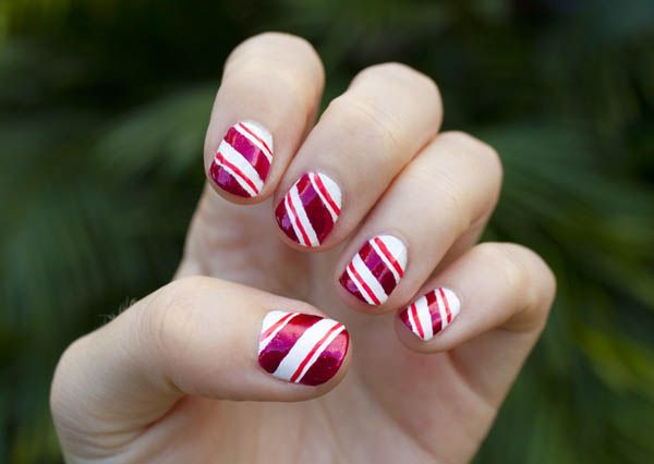 How To Get Candy Striped Nails Candy Cane Nails Nail Nail And