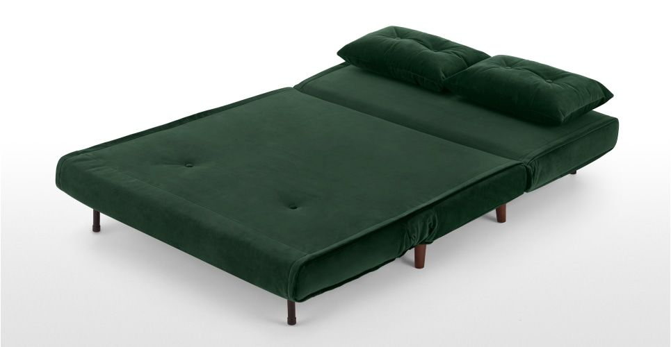 Haru Small Sofa Bed Pine Green Velvet Small Sofa Bed Sofa Bed With Storage Sofa Bed Design