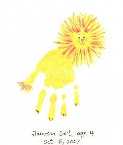Handprint Lion >> Lion Handprint Kiddos Crafts For Kids Handprint Art Toddler Crafts
