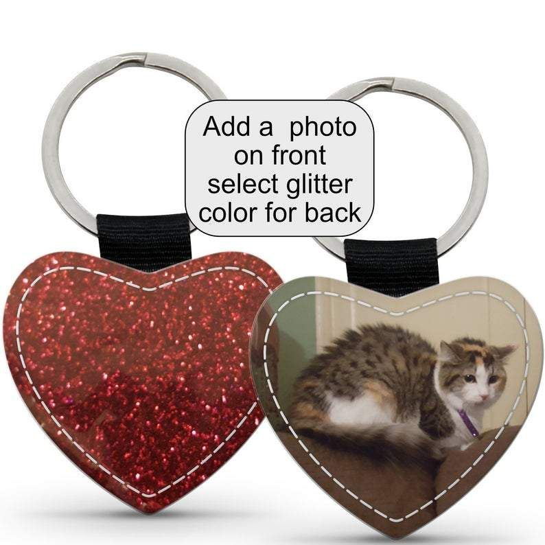 Photo key-chain - leather heart keychain with glitter back - great gift for anyone  #design #gift #art #gifts #designtimegnc #gifting #handmade #giftguide #giftideas #birthday