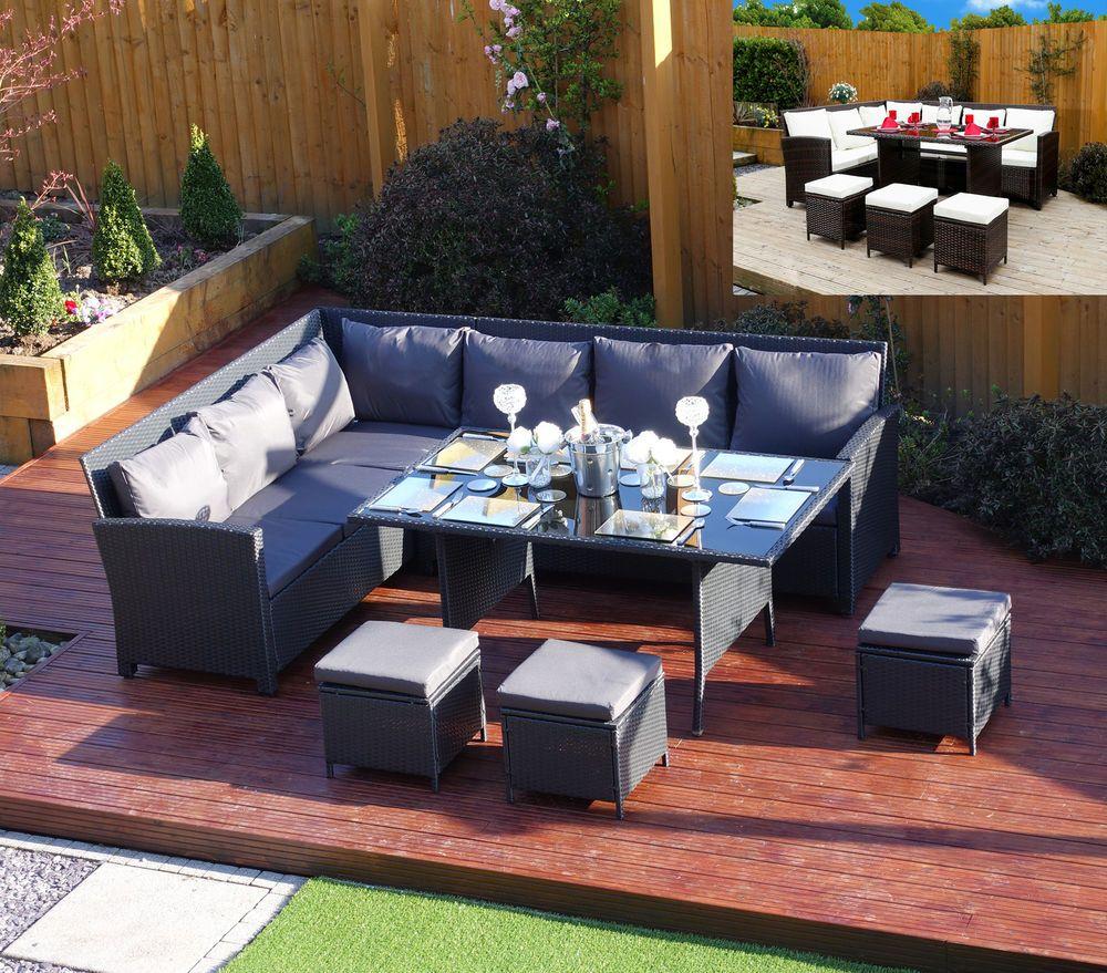 9 Seater Rattan Corner Garden Sofa Dining Set Furniture 2017 Black Brown