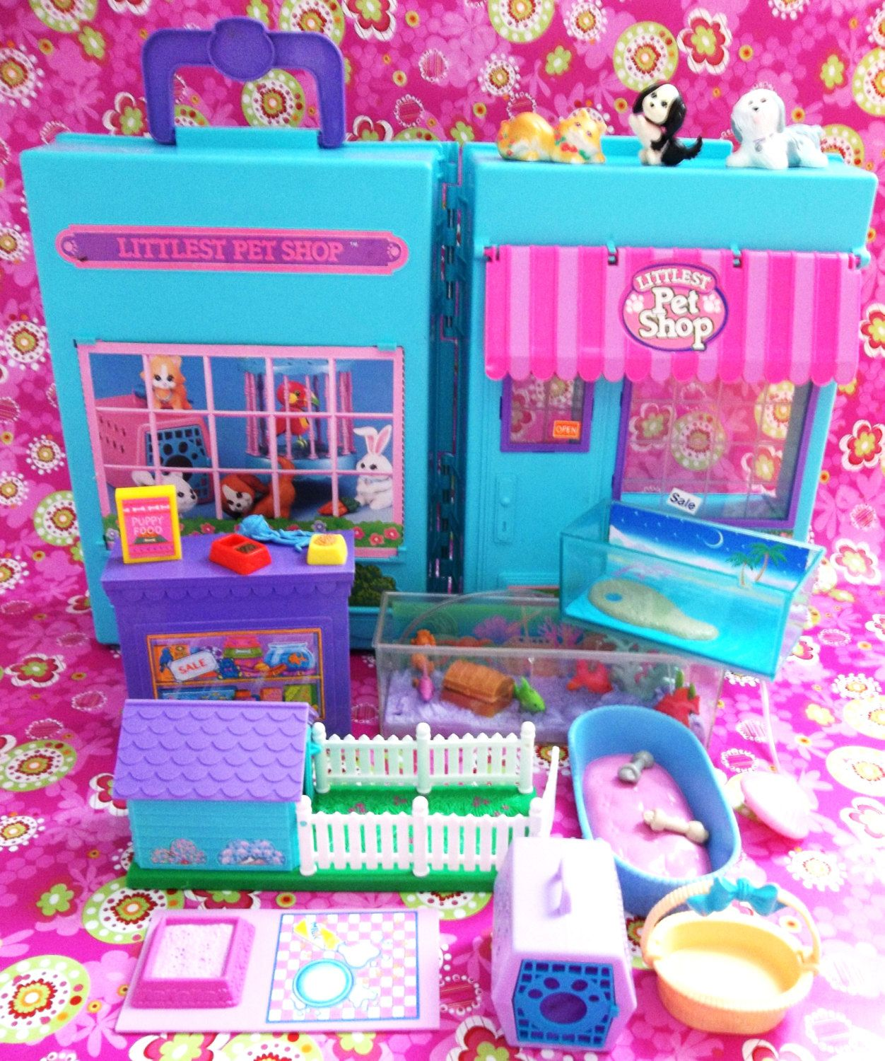 1990s Littlest Pet Shop Pet Store Playset With Accessory Sets