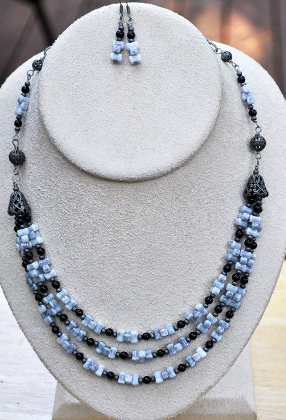 Jewelry - Necklaces - Triple strand 17 1/2 necklace and earring set by JewelryArtByGail
