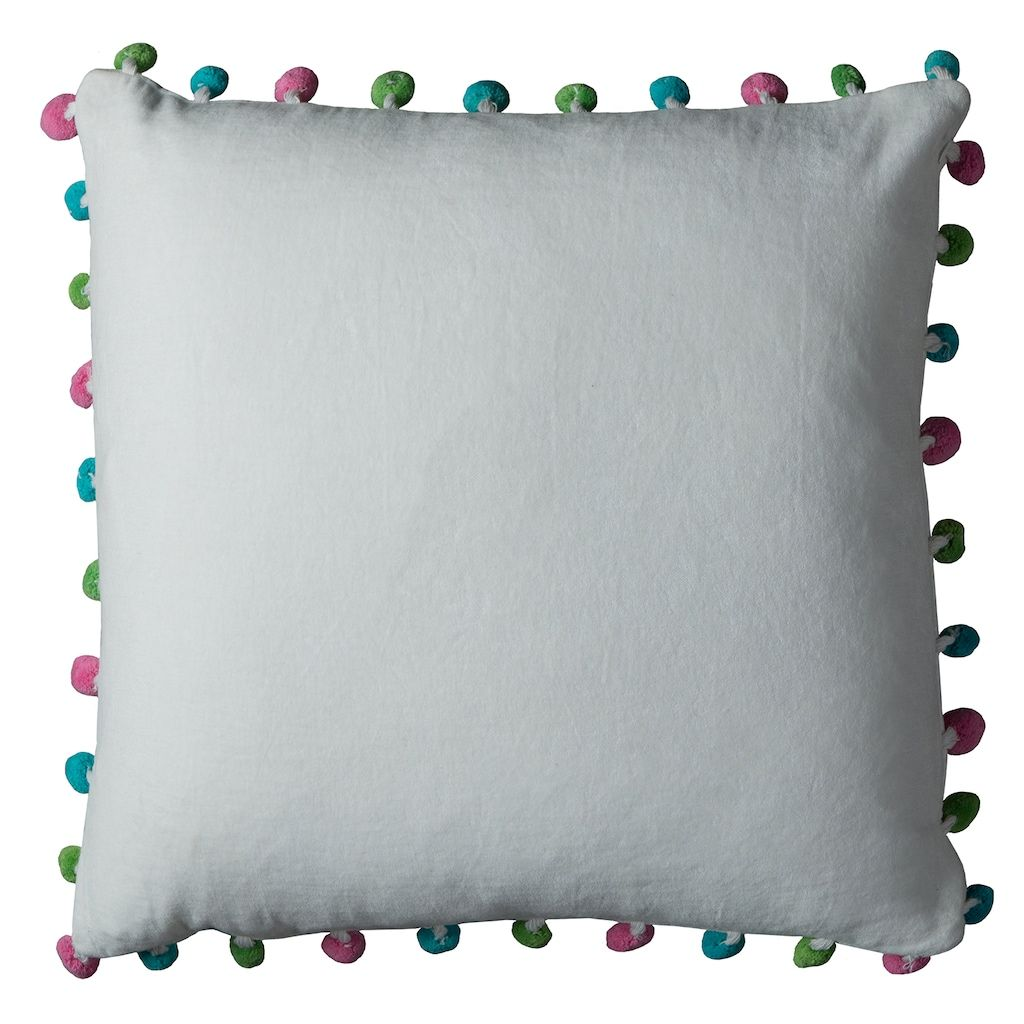 Rizzy Home Colorful Pom-Pom Throw Pillow, Lt Beige, 18X18 images